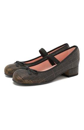 Детские туфли с перемычкой PRETTY BALLERINAS черного цвета, арт. 44.097/GALASSIA | Фото 1