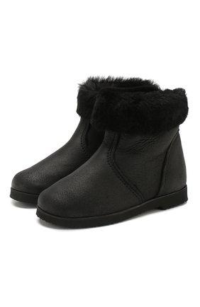 Детские замшевые ботинки с меховой отделкой PRETTY BALLERINAS черного цвета, арт. 39.310/CRUISE/CRUISE | Фото 1