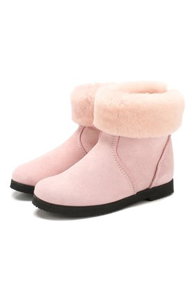 Детские замшевые ботинки с меховой отделкой PRETTY BALLERINAS розового цвета, арт. 39.310/ASPEN/ASPEN | Фото 1