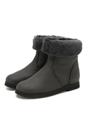 Детские замшевые ботинки с меховой отделкой PRETTY BALLERINAS серого цвета, арт. 39.310/ASPEN/ASPEN | Фото 1