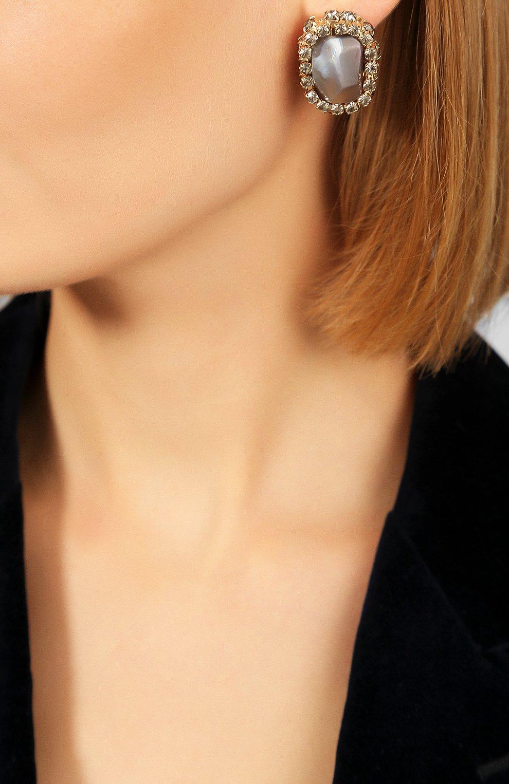 Женские серьги ANTON HEUNIS серого цвета, арт. FLT3.04 | Фото 2
