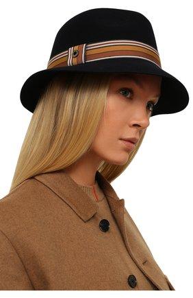 Женская фетровая шляпа ingrid LORO PIANA темно-синего цвета, арт. FAI7947 | Фото 2 (Материал: Шерсть; Статус проверки: Проверено, Проверена категория)