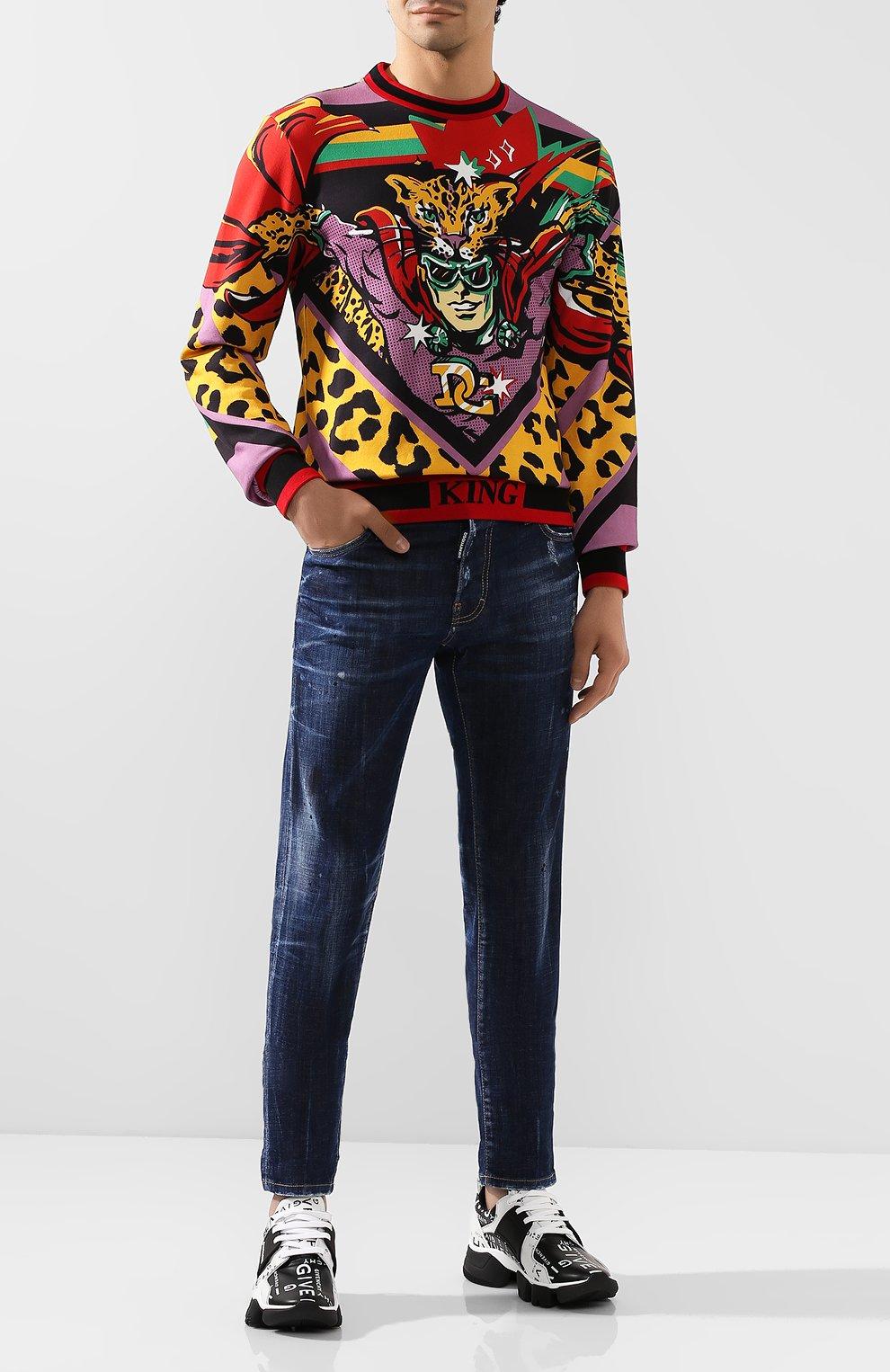 Кожаные кроссовки Jaw Givenchy черно-белые | Фото №2