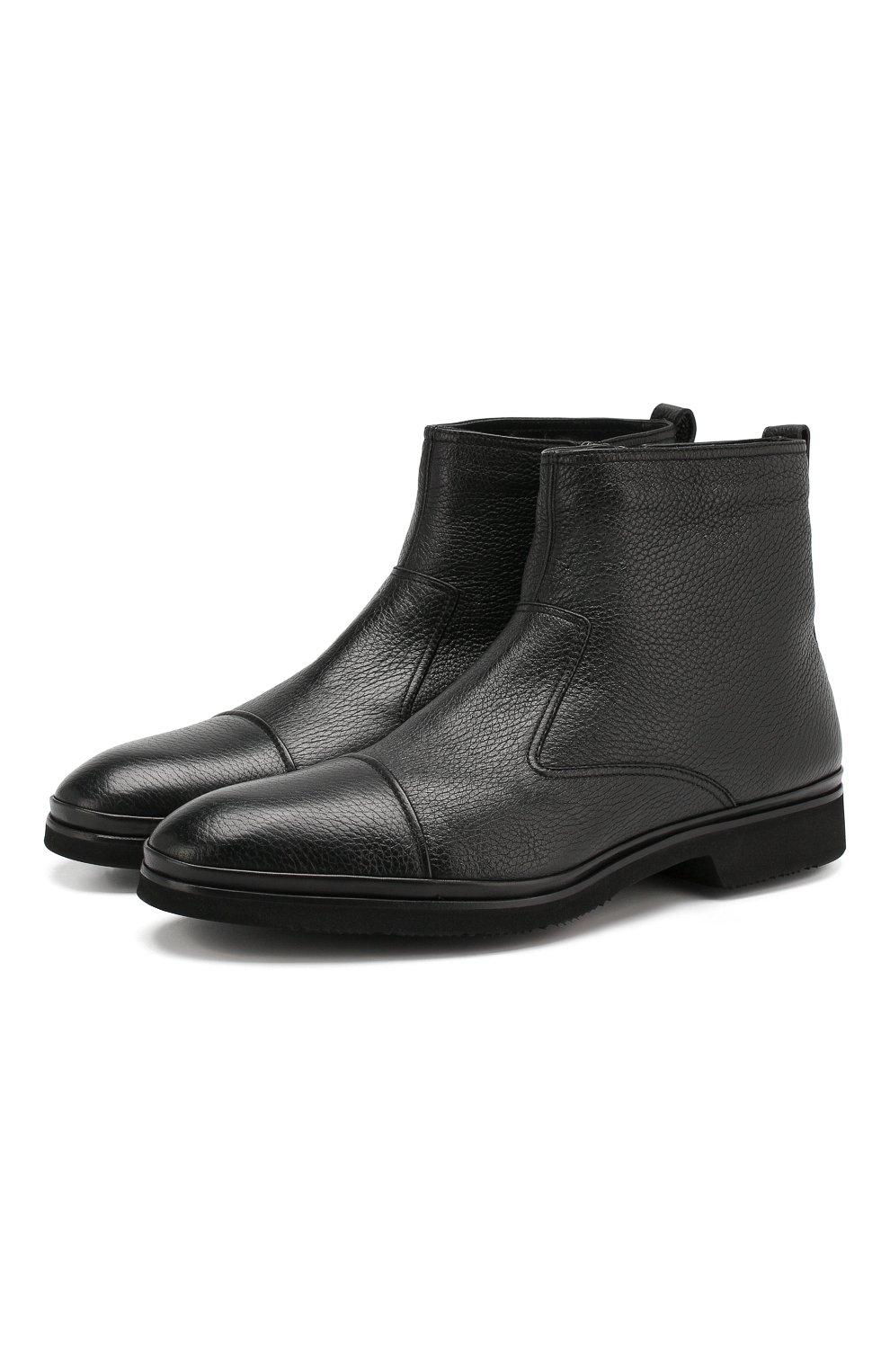 Мужские кожаные сапоги ALDO BRUE черного цвета, арт. AB8520H-CM | Фото 1