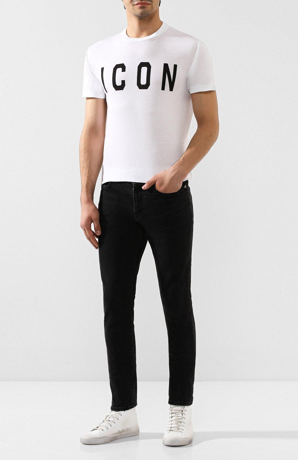 Мужская хлопковая футболка DSQUARED2 белого цвета, арт. S74GD0580/S21600 | Фото 2