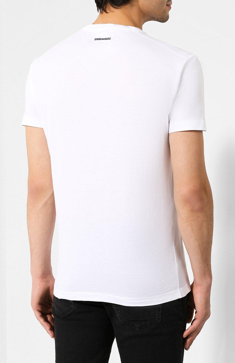 Мужская хлопковая футболка DSQUARED2 белого цвета, арт. S74GD0580/S21600 | Фото 4