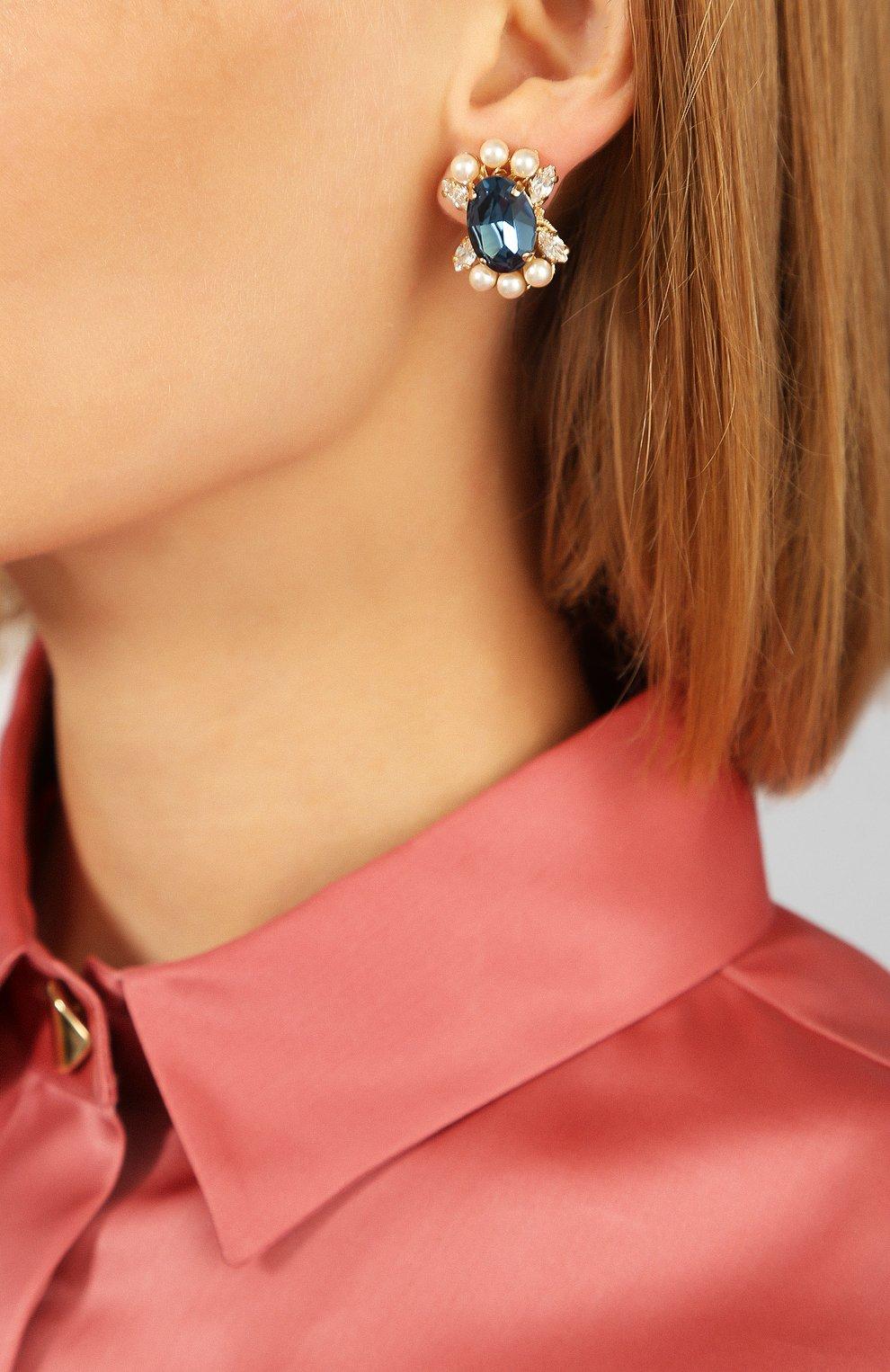 Женские серьги ANTON HEUNIS синего цвета, арт. FLT3.01 | Фото 2
