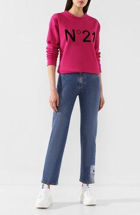 Женские джинсы MSGM синего цвета, арт. 2741MDP41LX 195785 | Фото 2