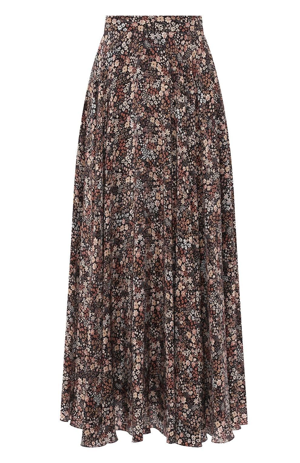 Женская шелковая юбка ALEXANDER TEREKHOV коричневого цвета, арт. SK333/1415.FLW930/W20 | Фото 1