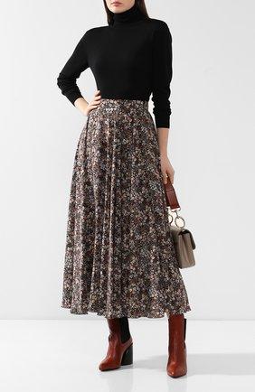 Женская шелковая юбка ALEXANDER TEREKHOV коричневого цвета, арт. SK333/1415.FLW930/W20 | Фото 2