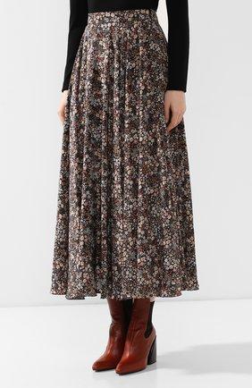 Женская шелковая юбка ALEXANDER TEREKHOV коричневого цвета, арт. SK333/1415.FLW930/W20 | Фото 3