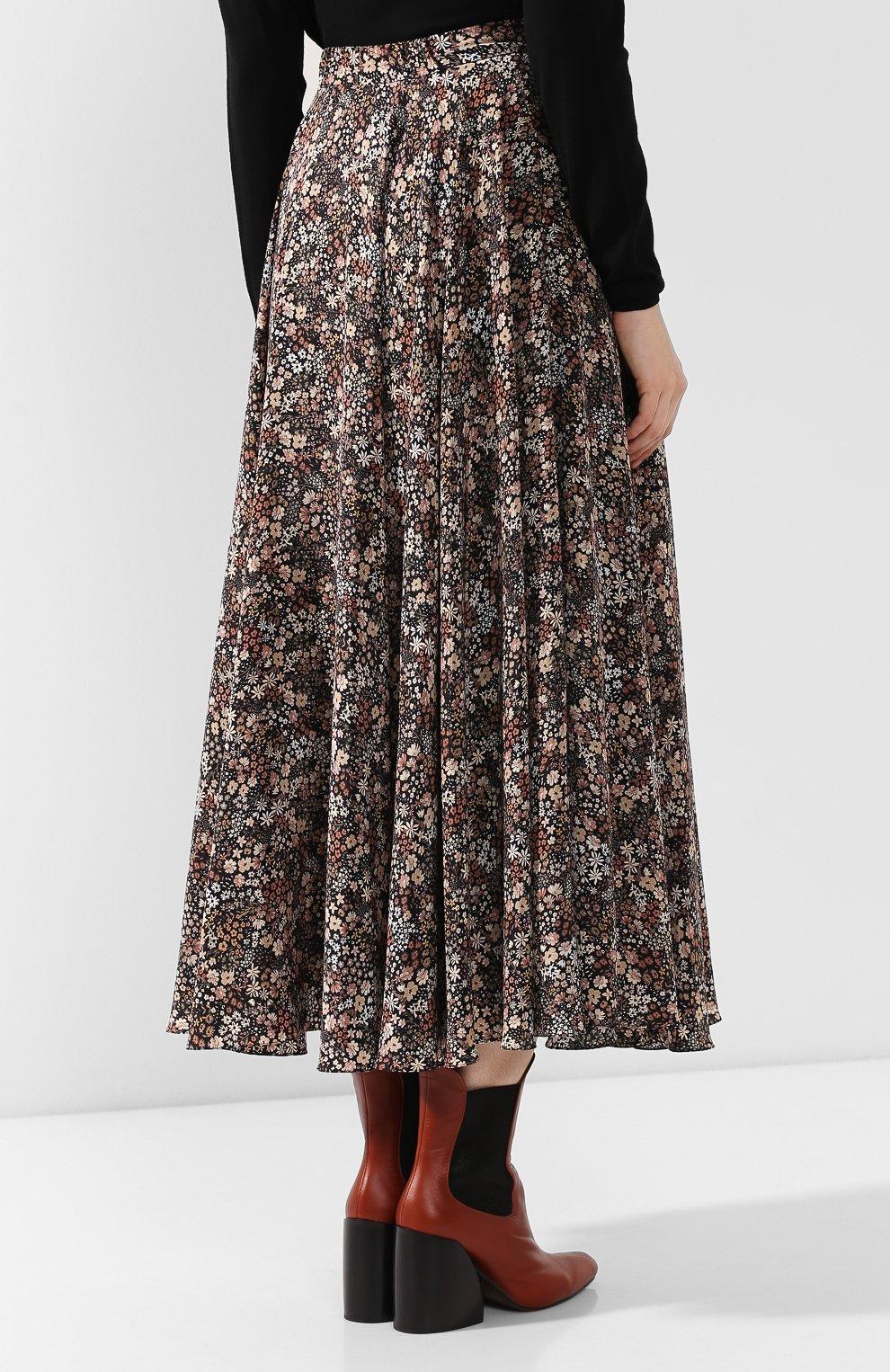 Женская шелковая юбка ALEXANDER TEREKHOV коричневого цвета, арт. SK333/1415.FLW930/W20 | Фото 4