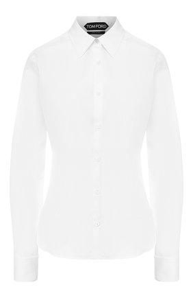Женская хлопковая рубашка TOM FORD белого цвета, арт. CA3125-FAX565 | Фото 1 (Статус проверки: Проверена категория; Материал внешний: Хлопок; Длина (для топов): Стандартные; Рукава: Длинные; Принт: Без принта; Женское Кросс-КТ: Рубашка-одежда)