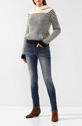 Женские джинсы SAINT LAURENT синего цвета, арт. 527379/YF477 | Фото 2