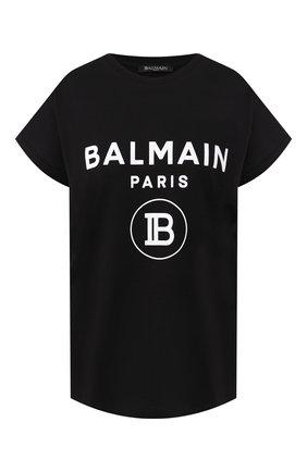 Женская хлопковая футболка BALMAIN черного цвета, арт. SF11367/I193 | Фото 1