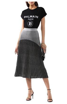 Женская хлопковая футболка BALMAIN черного цвета, арт. SF11367/I193 | Фото 2