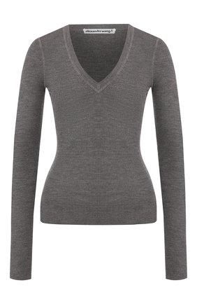 Женская шерстяной пуловер ALEXANDERWANG.T серого цвета, арт. 4KC2191076 | Фото 1