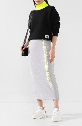 Женская хлопковая юбка ALEXANDERWANG.T серого цвета, арт. 4CC2195001 | Фото 2