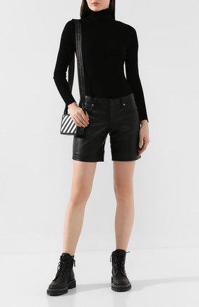Женские кожаные шорты ALEXANDER WANG черного цвета, арт. 1WC2194167 | Фото 2