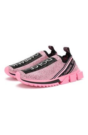 Женские текстильные кроссовки sorrento DOLCE & GABBANA розового цвета, арт. CK1644/AZ284 | Фото 1