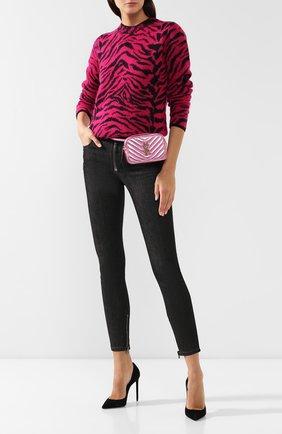 Женская поясная сумка lou SAINT LAURENT розового цвета, арт. 534817/09E0W | Фото 2 (Материал: Натуральная кожа; Размер: mini; Ремень/цепочка: На ремешке; Стили: Классический; Кросс-КТ: другое; Застежка: Молния)