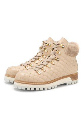 Женские кожаные ботинки LE SILLA бежевого цвета, арт. 7512M040M1MMCHI | Фото 1