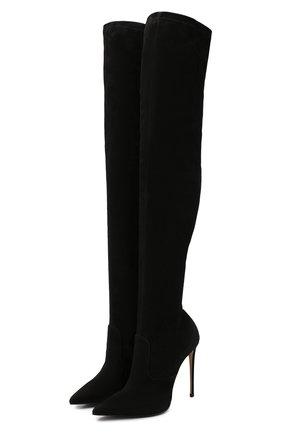 Женские замшевые ботфорты LE SILLA черного цвета, арт. 2155M100R1PPVST | Фото 1