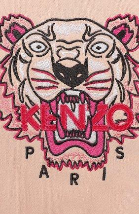 Детский хлопковый кардиган с капюшоном KENZO светло-розового цвета, арт. KP15188-BB | Фото 3