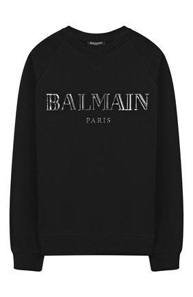 Детский хлопковый свитшот BALMAIN черного цвета, арт. 6L4590/LX230/4-10 | Фото 1