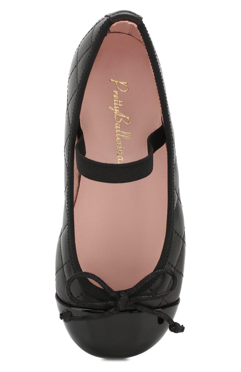 Детские кожаные балетки PRETTY BALLERINAS черного цвета, арт. 48.405/SHADE/C0T0N | Фото 4