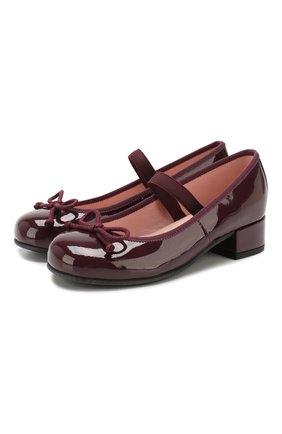 Детские кожаные туфли с перемычкой PRETTY BALLERINAS бордового цвета, арт. 48.401/SHADE | Фото 1