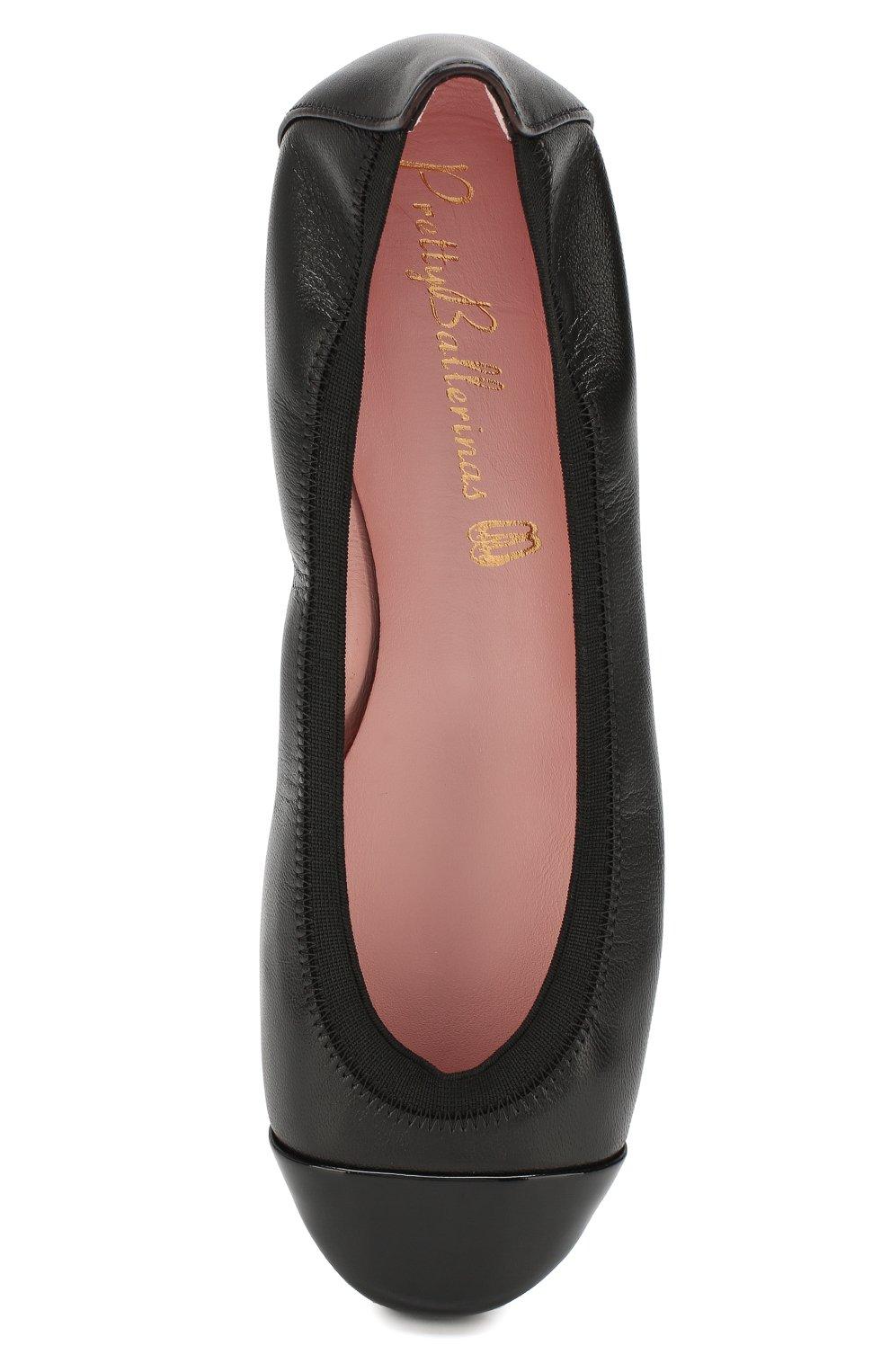 Детские кожаные балетки PRETTY BALLERINAS черного цвета, арт. 37.190/SHADE/C0T0N | Фото 4