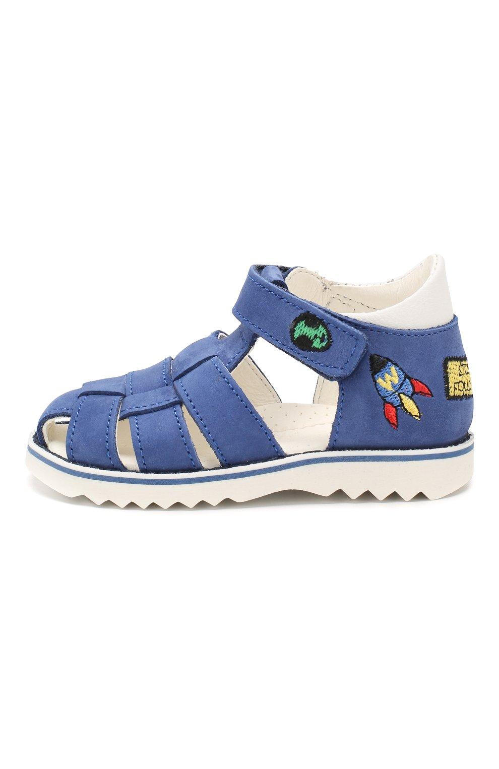 Кожаные сандалии с застежкой велькро   Фото №2