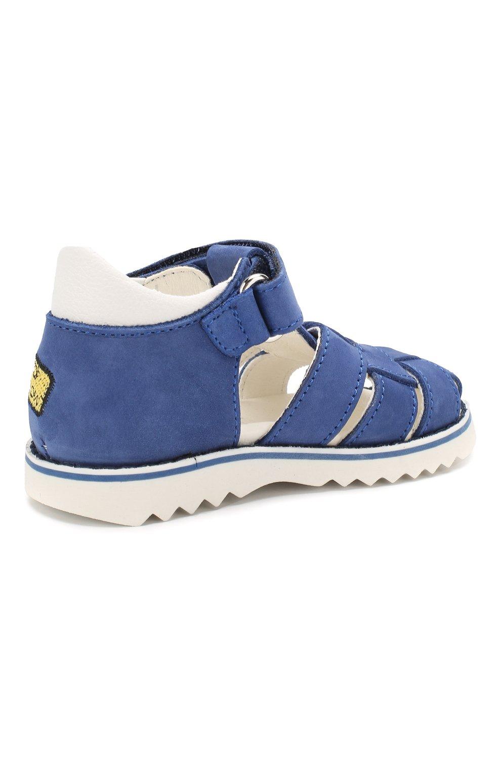 Кожаные сандалии с застежкой велькро   Фото №3