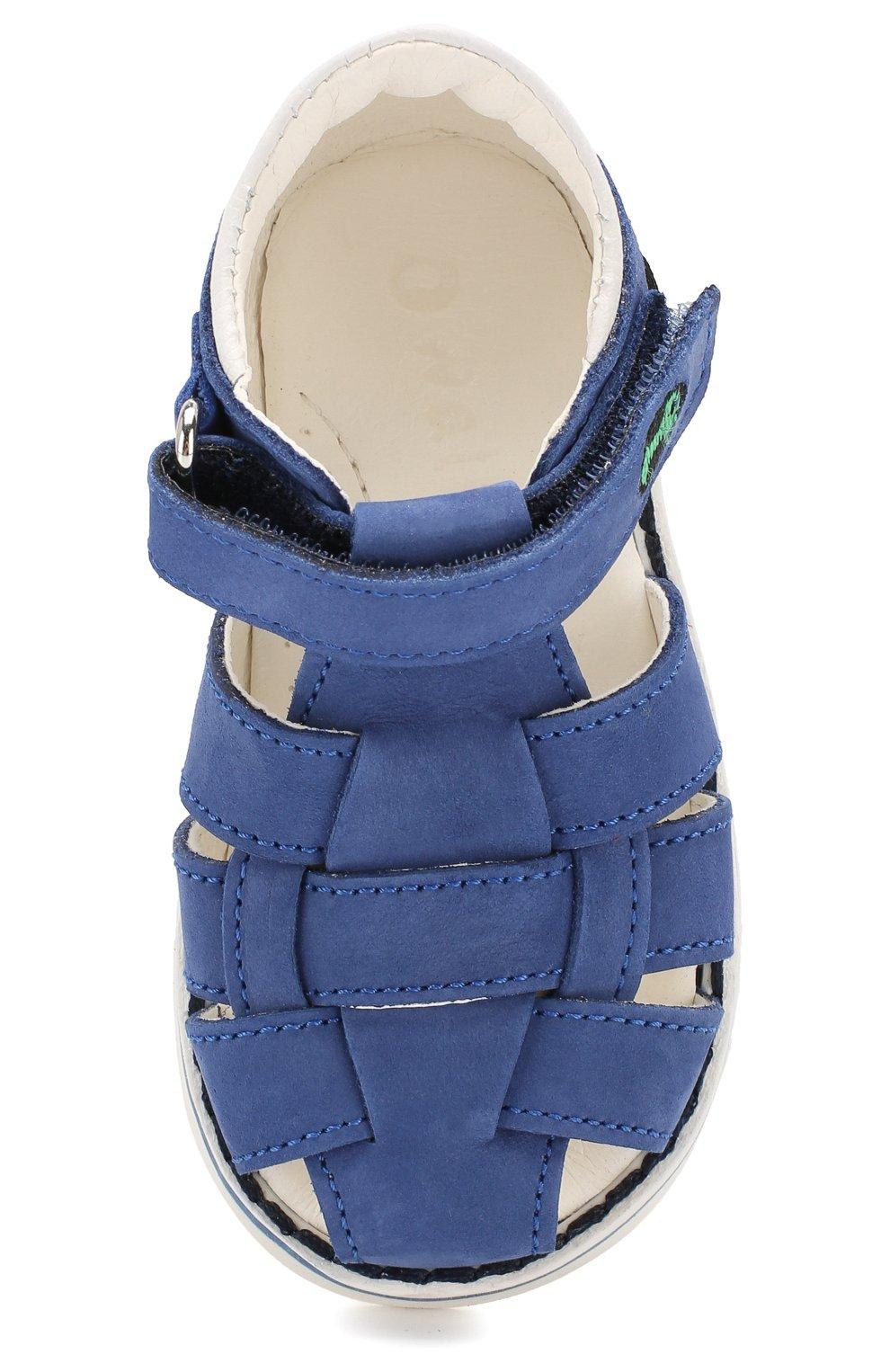 Кожаные сандалии с застежкой велькро   Фото №4