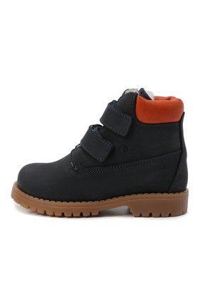 Детские кожаные ботинки с меховой отделкой WALKEY темно-синего цвета, арт. Y1B4-40015-0415/25-29 | Фото 2