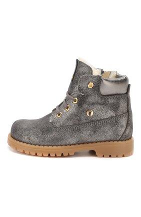 Детские кожаные ботинки с меховой отделкой WALKEY темно-серого цвета, арт. Y1A4-40143-0416/25-29 | Фото 2