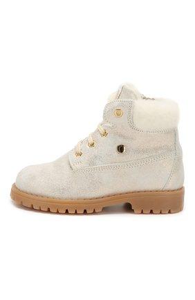 Детские кожаные ботинки с меховой отделкой WALKEY белого цвета, арт. Y1A4-40143-0416/25-29 | Фото 2