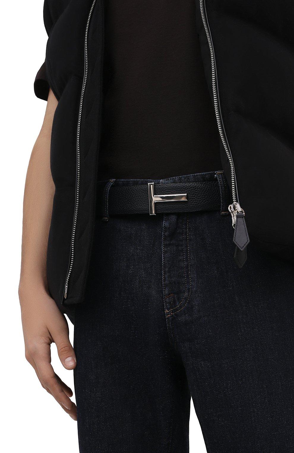 Мужской кожаный ремень TOM FORD черного цвета, арт. TB178P-LCL050 | Фото 2