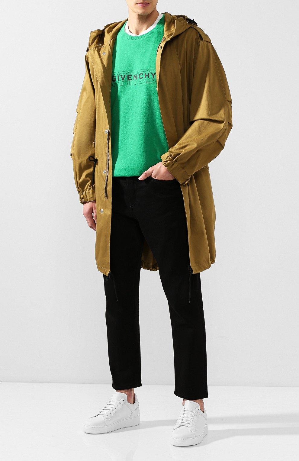 Хлопковый свитшот Givenchy зеленый | Фото №2