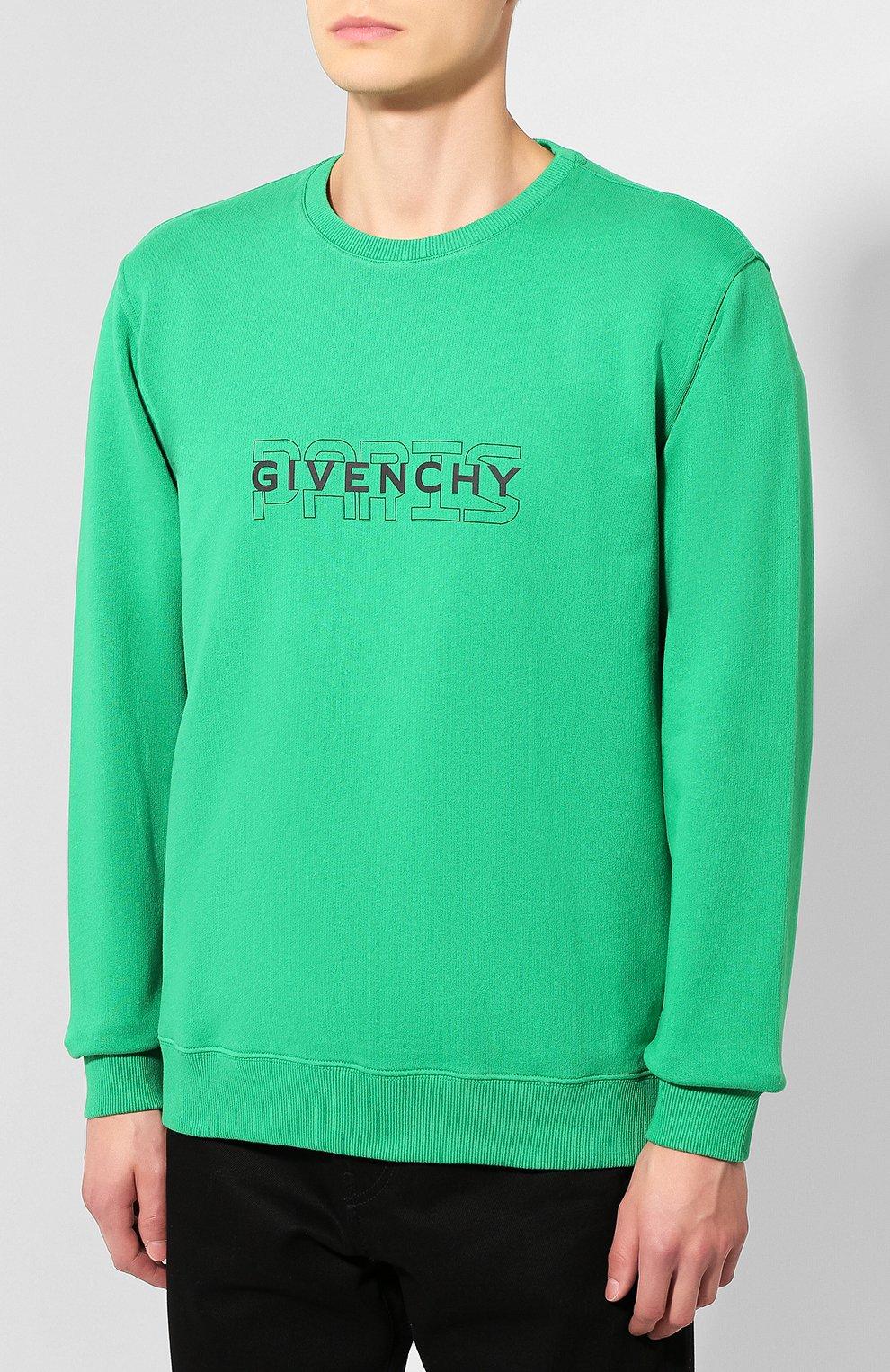 Хлопковый свитшот Givenchy зеленый | Фото №3