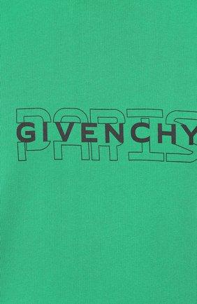 Хлопковый свитшот Givenchy зеленый | Фото №5