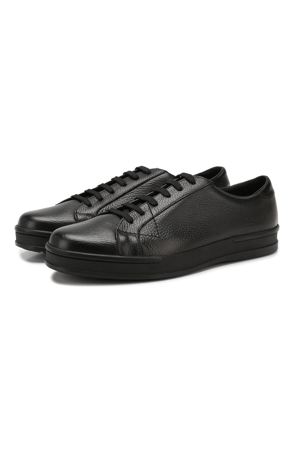 Мужские кожаные кеды ALDO BRUE черного цвета, арт. AB5035H-VPN   Фото 1
