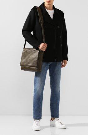 Мужская кожаный мессенджер BOTTEGA VENETA хаки цвета, арт. 577538/VQ139   Фото 2