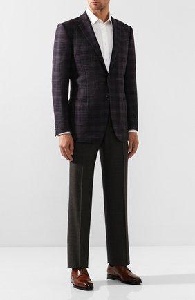 Мужской шерстяные брюки TOM FORD коричневого цвета, арт. 611R63/610043   Фото 2
