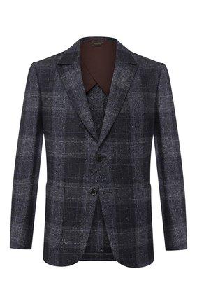 Мужской шерстяной пиджак ZEGNA COUTURE синего цвета, арт. 660N17/10J3N0 | Фото 1