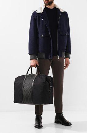 Мужская дорожная сумка jerseywear pelletessuta ERMENEGILDO ZEGNA черного цвета, арт. C1456P-LHB0L | Фото 2