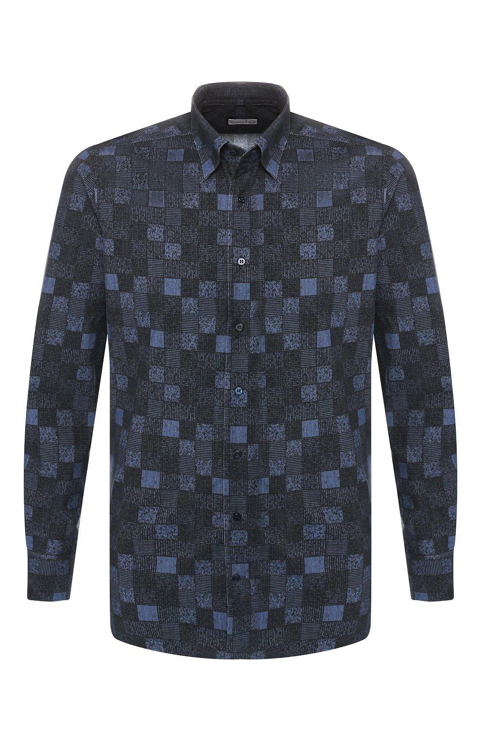 Мужская хлопковая рубашка ZILLI темно-синего цвета, арт. MFS-MERCU-39002/RZ01 | Фото 1