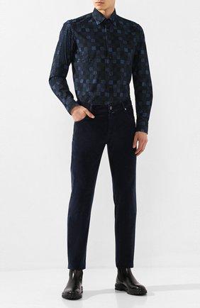 Мужская хлопковая рубашка ZILLI темно-синего цвета, арт. MFS-MERCU-39002/RZ01 | Фото 2