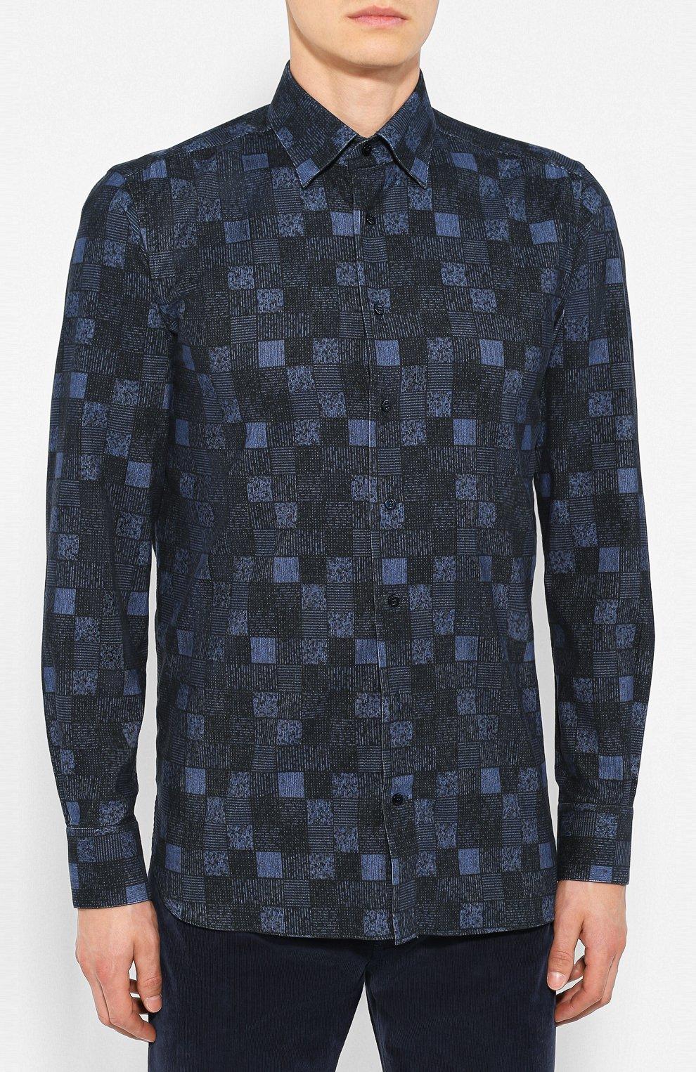 Мужская хлопковая рубашка ZILLI темно-синего цвета, арт. MFS-MERCU-39002/RZ01 | Фото 3